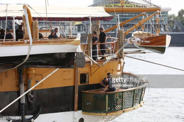 The Italian sailing training ship Amerigo Vespucci moors at the overseas bridge in the harbour The legendary sailing training ship came with 326...