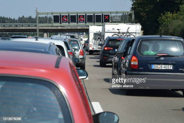 Cars are close to each other on the A8 motorway towards Munich Photo Peter Kneffel/dpa