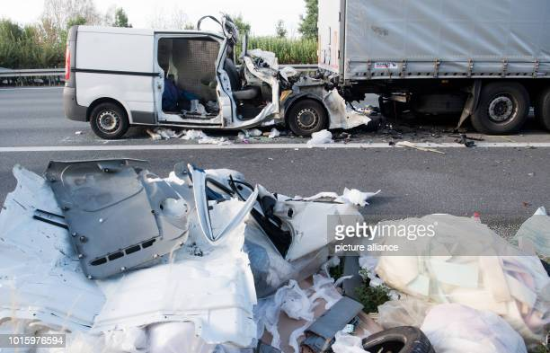 A completely destroyed van is on the A2 motorway between PeineOst and Haemelerwald after a serious accident in the direction of Hanover The two...