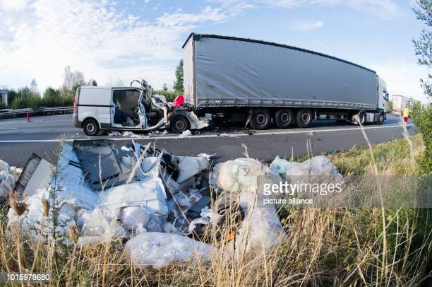 A completely destroyed van is on the A2 motorway between PeineOst and Haeelerwald after a serious accident in the direction of Hanover The two...