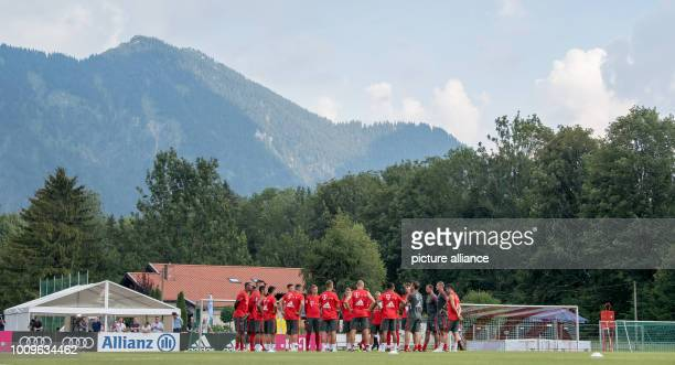 August 2018, Germany, Rottach-Egern: The players of FC Bayern Munich are on the training ground. The club is at Tegernsee for a one-week training...