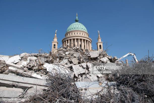 After the official completion of the demolition work the ruins of the building of the old University of Applied Sciences lie against the backdrop of...