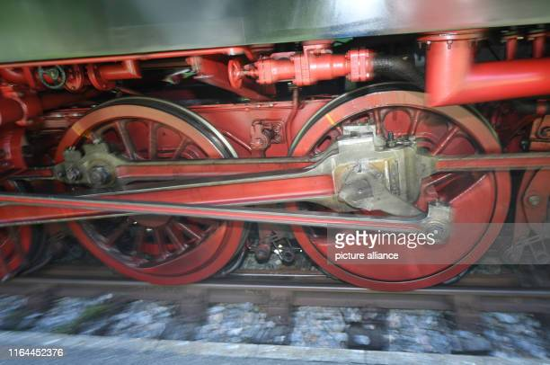 16 August 2019 BadenWuerttemberg Blumberg The wheels of the Sauschwänzlebahn turn at the start in the station in Weizen The historic railway with its...