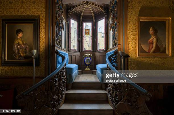 20 August 2019 BadenWuerttemberg Hechingen Interior view of the Blue Salon at Hohenzollern Castle Photo Silas Stein/dpa