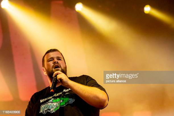 Jan Monchi Gorkow singer of Feine Sahne Fischfilet performs at the openair concert of the Politpunkband Feine Sahne Fischfilet in the citadel Spandau...