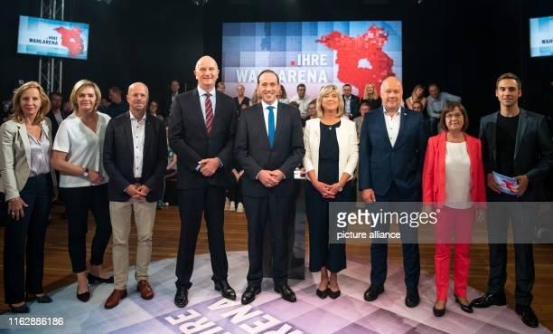 Patricia Schlesinger director of rbb presenter Tatjana Jury top candidates for the Brandenburg state elections Andreas Kalbitz Dietmar Woidke prime...