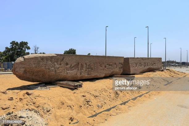August 2019, Egypt, Giza: A broken obelisk lies on the ground outside the Grand Egyptian Museum in Giza outside Cairo. Photo: Hassan Mohamed/dpa