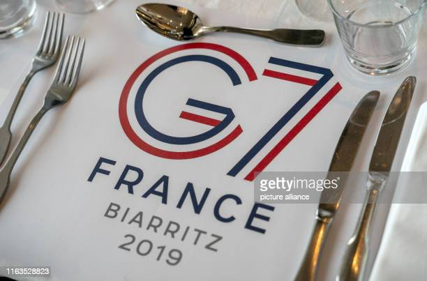 24 August 2019 France Biarritz The table in the press centre is set at the G7 summit France holds the rotating presidency of the G7 summit of the...