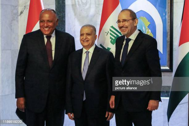 August 2019, Iraq, Baghdad: Egyptian Foreign Minister Sameh Shoukry , Iraqi Foreign Minister Mohammed Ali Hakim , and Jordanian Foreign Minister...