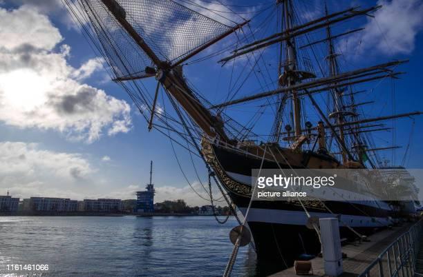 09 August 2019 MecklenburgWestern Pomerania RostockWarnemünde The Amerigo Vespucci is the most famous sailing training ship of the Italian Navy and...