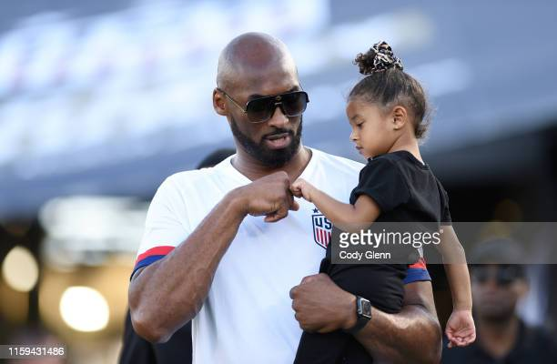 August 2019 Retired NBA star Kobe Bryant and daughter Bianka Bella prior to the Women's International Friendly match between USA and Republic of...
