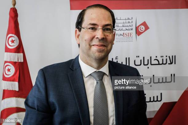 August 2019, Tunisia, Tunis: Tunisian Prime Minister Youssef Chahed is pictured at the Tunisian Independent High Authority for Elections, after he...