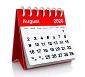 August 2020 Calendar. Isolated on White Background. 3D Illustration