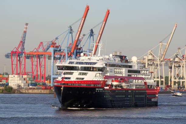 """DEU: Hurtigruten Vessel """"Fridtjof Nansen"""" Returns To Hamburg"""