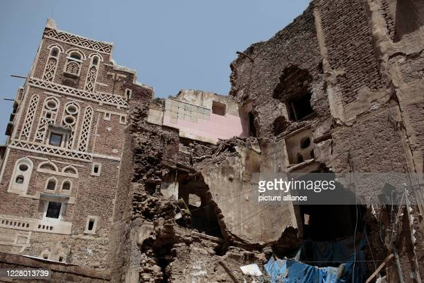 August 2020, Yemen, Sanaa: A general view of a UNESCO-listed building after it collapsed due to torrential rains. Photo: Hani Al-Ansi/dpa