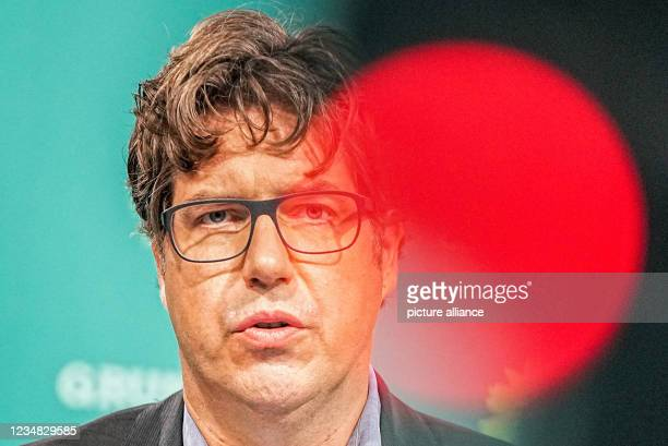 August 2021, Berlin: Michael Kellner, campaign manager and federal political director of Bündnis90/Die Grünen, speaks at a press conference after the...