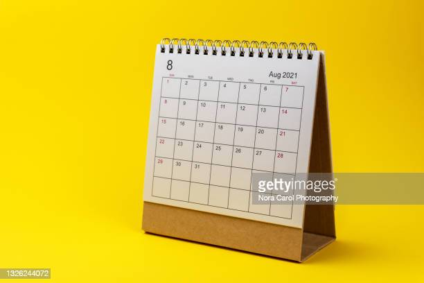 august 2021 calendar on yellow background - 2021 stock pictures, royalty-free photos & images