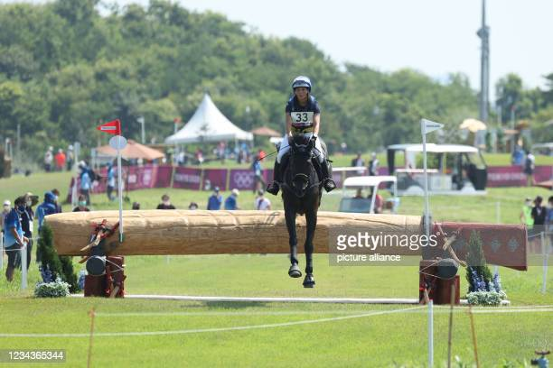 August 2021, Japan, Tokio: Equestrian Sport/Eventing: Olympic, Preliminary, Cross Country, on the Sea Forest XC Course. Louise Romeike from Sweden on...