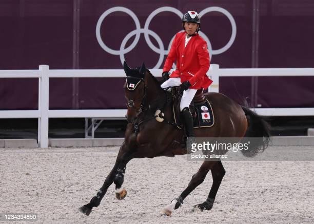 August 2021, Japan, Tokio: Equestrian Sport/Eventing: Olympics, Individual, Show Jumping, Baji Koen Equestrian Park. Kazuma Tomoto from Japan on...