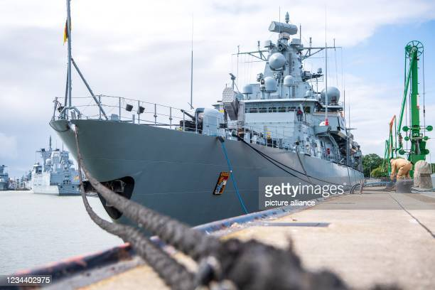 """August 2021, Lower Saxony, Wilhelmshaven: The frigate """"Bayern"""" lies in port before departure. The naval vessel has set off on a training voyage..."""