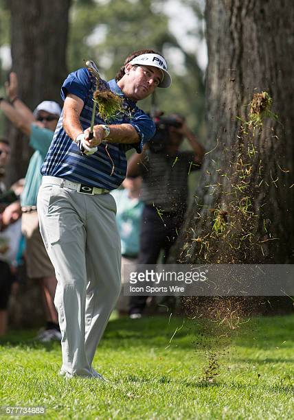 Bubba Watson hits a ball out of the rough during the first round of The Barclays at Ridgewood Country Club Paramus NJ