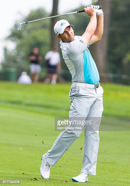 Sergio Garcia drives the ball in the fairway during the first round of The Barclays at Ridgewood Country Club Paramus NJ