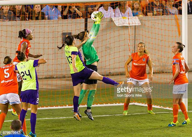Houston Dash goalkeeper Erin McLeod successfully traps the ball during the NWSL soccer match between the Seattle Reign FC and Houston Dash at BBVA...
