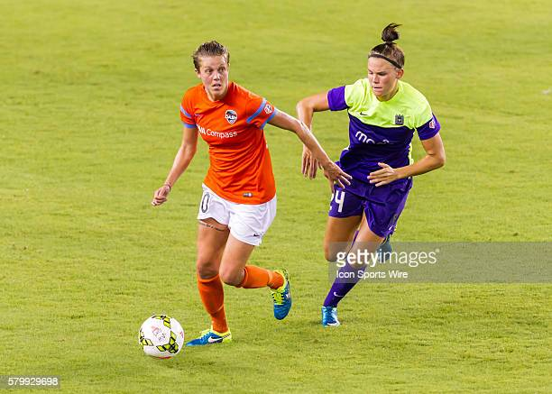 Houston Dash midfielder Rachael Axon and Seattle Reign FC forward Katrine Veje during the NWSL soccer match between the Seattle Reign FC and Houston...