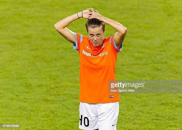 Houston Dash midfielder Rachael Axon during the NWSL soccer match between the Seattle Reign FC and Houston Dash at BBVA Compass Stadium in Houston TX