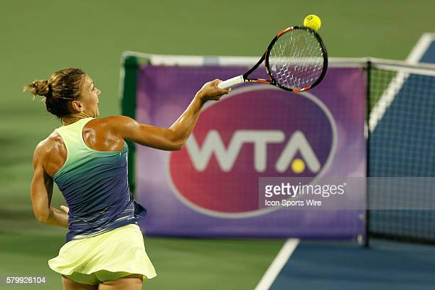 Simona Halep hits a forehand during the quarterfinal of The Western & Southern Open, August 21st, 2015 in Mason, OH. Halep defeated Anastasia...
