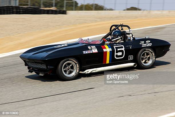 A 1964 Chevrolet Corvette Roadster driven by Jeffrey Abramson from Alamo CA competed in Group 6B during Rolex Race 6B at the Rolex Monterey...