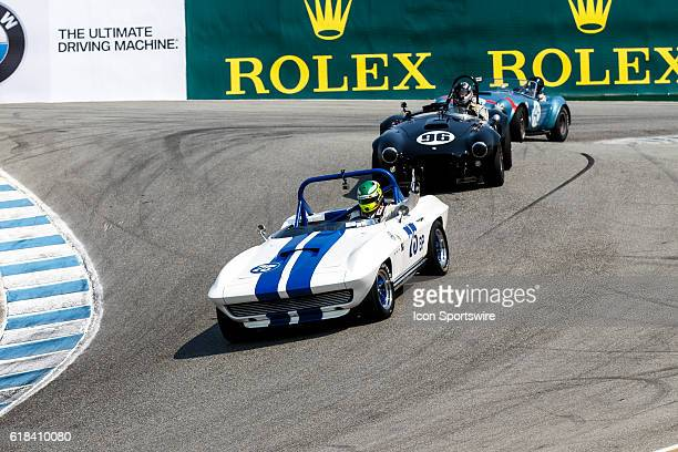 A 1965 Chevrolet Corvette driven by Thomas Steuer from Bogota Cundinamarca leads A 1965 Cobra AC driven by Lorne Leibel from North York Ontario...