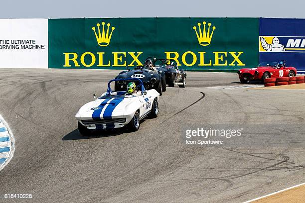 A 1965 Chevrolet Corvette driven by Thomas Steuer from Bogota Cundinamarca competed in Group 6B during Rolex Race 6B at the Rolex Monterey...