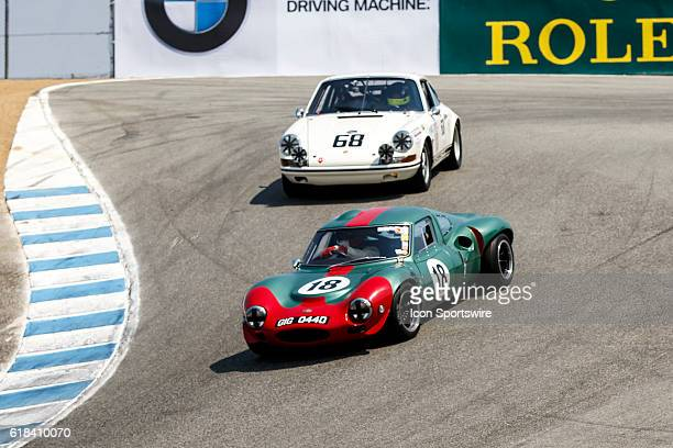 A 1966 Ginetta G12 driven by Fred Della Noce from Rio de Janeiro leads A 1968 Porsche 911 T/R driven by David Donohue from Playa Del Rey CA during...