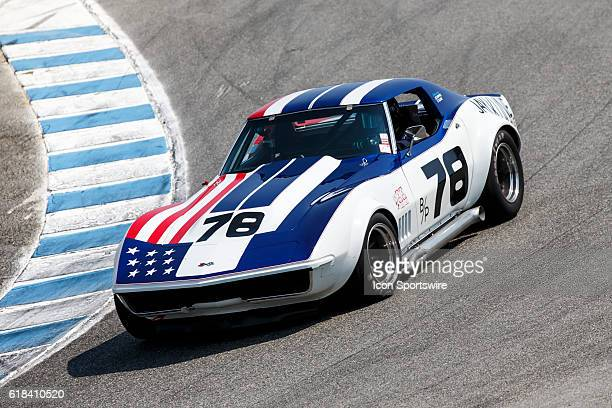 A 1969 Chevrolet Corvette driven by Scott Brady from Highland Village TX competed in Group 3B during Rolex Race 3B at the Rolex Monterey Motorsports...