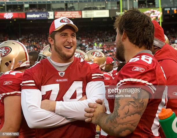 San Francisco 49ers offensive tackle Joe Staley and guard Adam Snyder talk on sidelines on Saturday August 22 2009 at Candlestick Park in San...