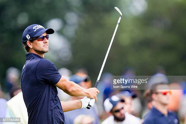 Adam Scott teeing off during the second round of The Barclays at Ridgewood Country Club in Paramus NJ