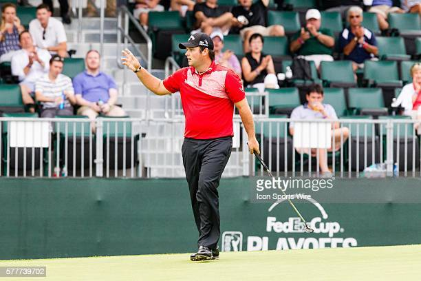 Patrick Reed birdies 15 during the second round of The Barclays at Ridgewood Country Club in Paramus NJ