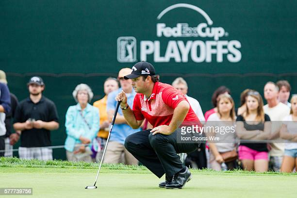 Patrick Reed lining up a putt on 15 during the second round of The Barclays at Ridgewood Country Club in Paramus NJ