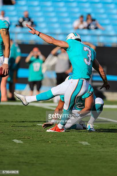 Miami Dolphins kicker Andrew Franks practices during the preseason game between the Carolina Panthers and the Miami Dolphins at Bank of America...