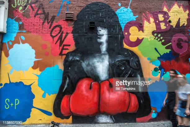 August 22, 2015 ]: The mural featuring Joey Ramone, lead singer of The Ramones unveiled on August 22, 2015 on the Bowery in New York City.