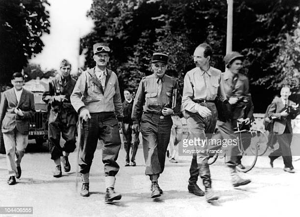 August 23 1944 Just before the Liberation of Paris General LECLERC and his officers from the Second Armored Division enter the city of Rambouillet...
