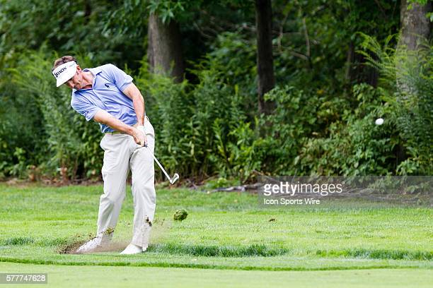 Gonzalo FdezCastano hits his approach shot on 3 during the third round of The Barclays at Ridgewood Country Club in Paramus NJ