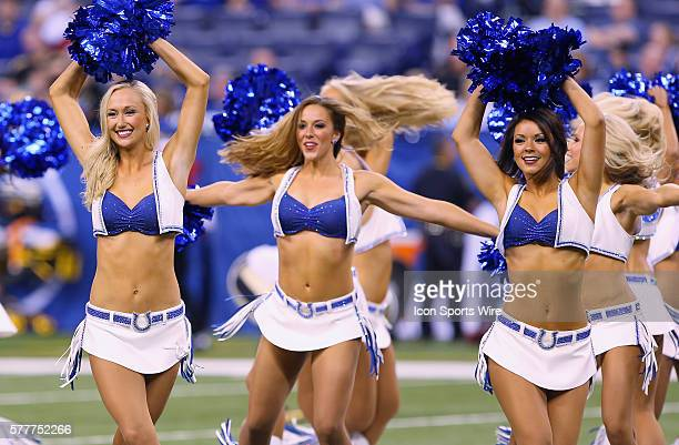 Indianapolis Colts cheerleaders perform in action during a week 3 preseason football game between the Indianapolis Colts and the New Orleans Saints...