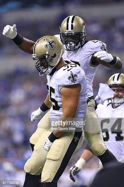 New Orleans Saints running back Travaris Cadet celebrates with New Orleans Saints running back Mark Ingram in action during a week 3 preseason...