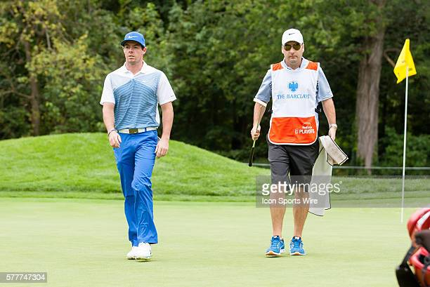 Rory McIlroy heads to the 9th green during the third round of The Barclays at Ridgewood Country Club in Paramus NJ