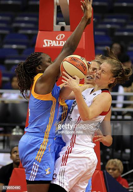 Chicago Sky center Clarissa Dos Santos defends against Washington Mystics center Emma Meesseman during a WNBA game at Verizon Center in Washington DC...