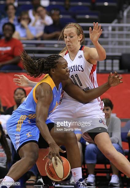 Chicago Sky center Clarissa Dos Santos pushes into Washington Mystics forward Ally Malott during a WNBA game at Verizon Center in Washington DC...