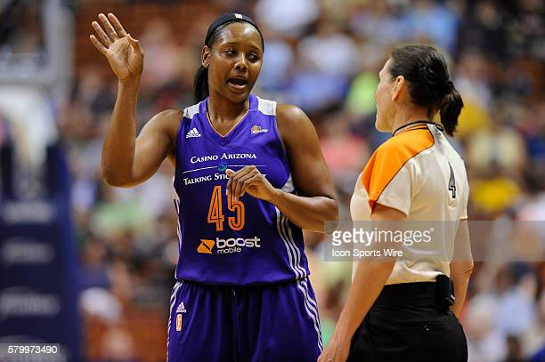 Phoenix Mercury Guard Noelle Quinn discusses a call with the referee during the first half action as the Connecticut Sun host's the Phoenix Mercury...