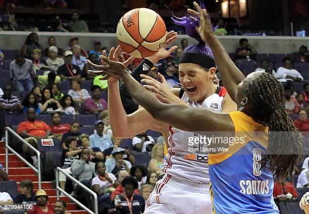 Washington Mystics center Stefanie Dolson clashes with Chicago Sky center Clarissa Dos Santos during a WNBA game at Verizon Center in Washington DC...